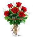 6 Pcs Rose In vase